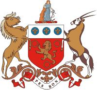 Coat of Arms of the Cape of Good Hope. As instituted by Responsible Government in 1872. Cape Colony Coat of Arms 1876.png