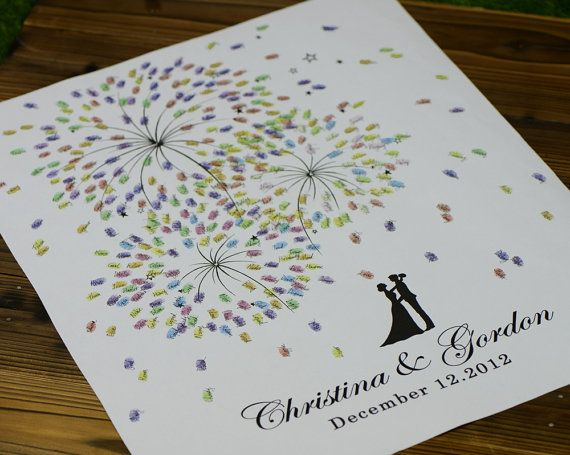 Hand Drawn Fingerprint fire works Wedding Tree, Thumb Print Guest Book,wedding guest book alternative, guest book fingerprint tree, D023 on Etsy, $55.00