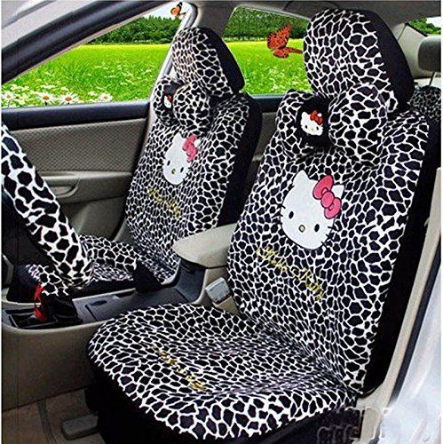 Hello Kitty 18pcs Auto Car Front Rear Seat Covers (black+leopard). For product info go to:  https://www.caraccessoriesonlinemarket.com/hello-kitty-18pcs-auto-car-front-rear-seat-covers-blackleopard/