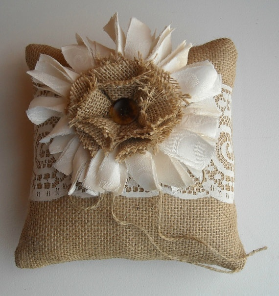 Burlap Ring Bearer Pillow For A Country, Western, Outdoor, Rustic Wedding. $22.00, via Etsy.