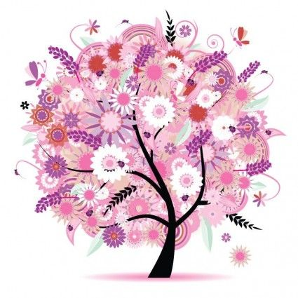 Tree with Flowers Vector Illustration