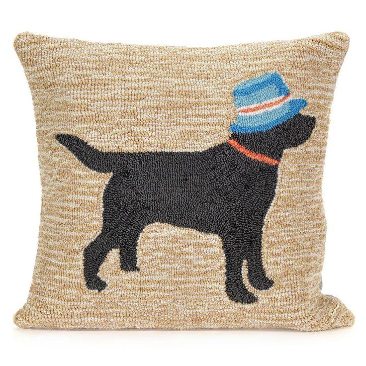 Liora Manne Vacation Dog Neutral Throw Pillow, Beig/Green (Beig/Khaki)