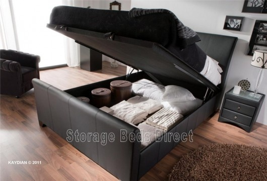 Kaydian Allendale Leather Ottoman Storage Bed - Double Ottman Frame Only - Black