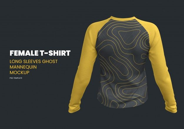 Female Long Sleeves T Shirt Ghost Mannequin Mockup Long Sleeve Tshirt Men Ghost Mannequin Sleeves