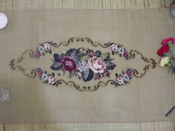 Vintage Handwork embroider woolen Needlepoint canvas tapestry -Beautiful garden