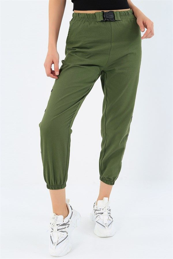39 95 Tl Haki Yan Citcitli Gabardin Bayan Pantolon 32910 Modamizbir In 2020 Capri Pants Pants Fashion
