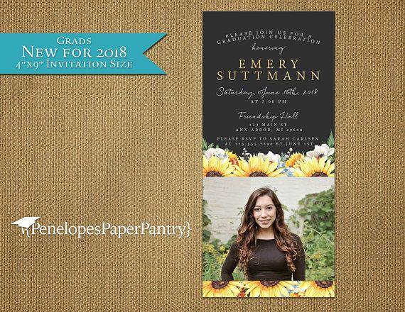 Elegant Sunflower Graduation Photo InvitationGraduation
