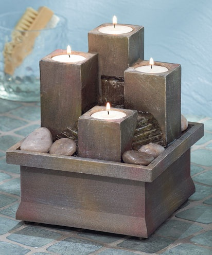 Tealight Pillar Tabletop Fountain: