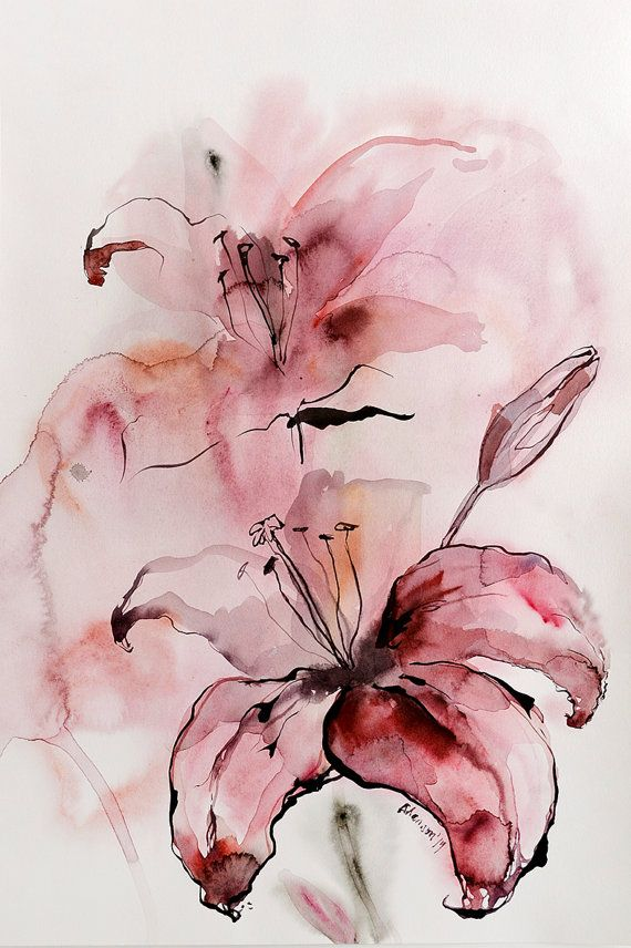Watercolor lily - original painting of flowers - pink lilies. A unique gift for…