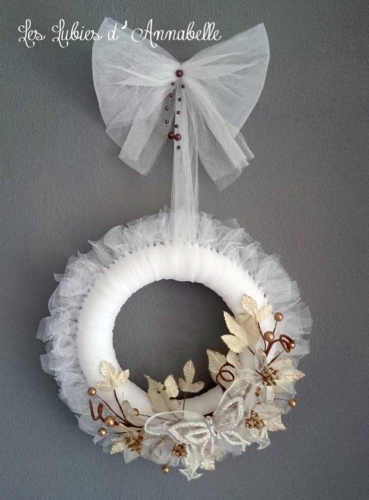 Grande Couronne de Porte Couronne de Noël Style Shabby Chic : Accessoires de maison par leslubiesdannabelle