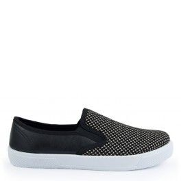 CZARNE SLIPERSY SLIP ON TWEED JODEŁKA