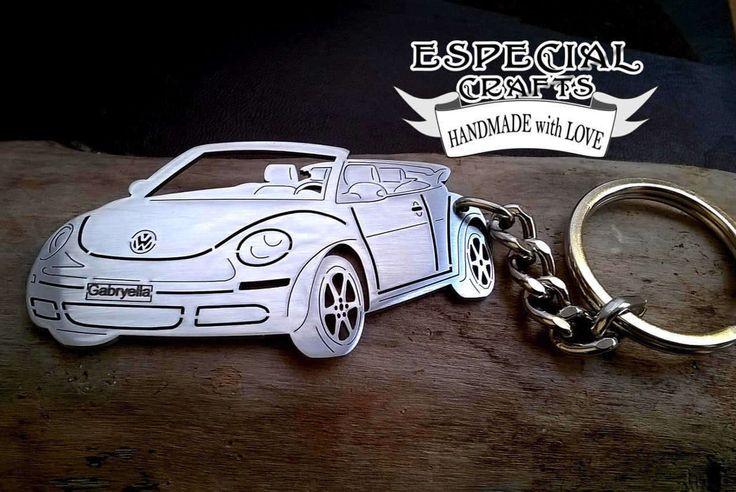VW Beetle, Volkswagen cabriolet, VW Keychain, vw beetle keychain, personalized keychain, Custom Keyring, volkswagen beetle cabriolet by EspecialCRAFTS on Etsy