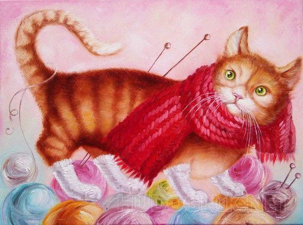 """Скоро зима Картина """"Скоро зима"""" выполнена по мотивам работ Натальи Деревянко. Рыжий котик в носочках на клубочках с нитками...      Картина выполнена маслом на холсте на подрамнике. Полностью ручная работа."""