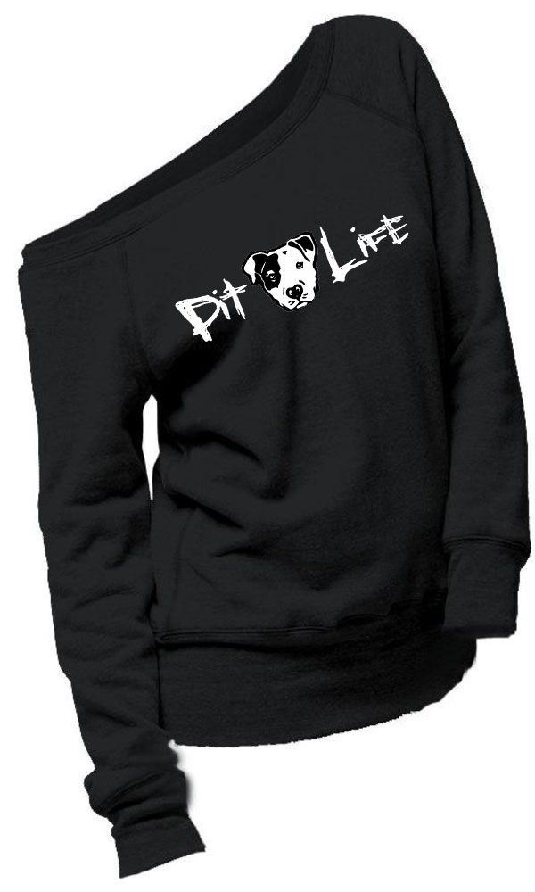 Off the Shoulder Pitbull Sweatshirt - Pit Life