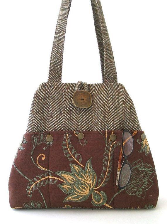 Brown shoulder bag womens handmade handbag fabric by daphnenen