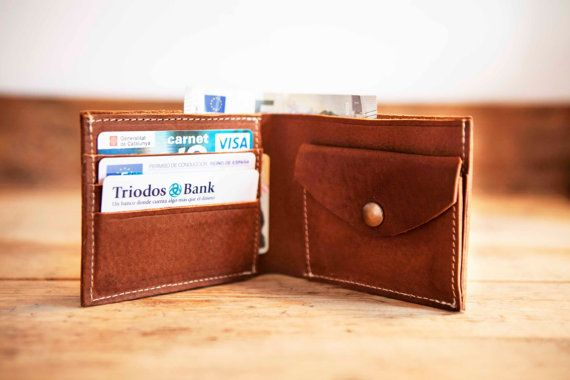 MENS leather coin WALLET // Waxed bifold wallet purse // by KURTIK