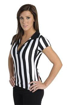 Women's Referee Shirt for Sports Bars with Collar & Zip Front