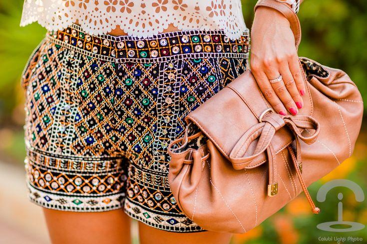 Top troquelado shorts lentejuelas Crimenes de la Moda