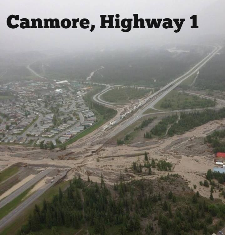 Canmore Alberta Canada | flooded Trans Canada Highway between Banff & Calgary | June 2013