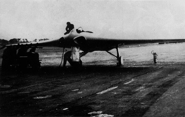 """The Horten H.IX, RLM designation Ho 229 was a German prototype fighter/bomber. It was the first pure flying wing powered by jet engines. It was the only aircraft to come close to meeting German Luftwaffen Reichsmarschall Hermann Göring's ""3×1000"" performance requirements, namely to carry 1,000 kilograms (2,200 lb) of bombs a distance of 1,000 kilometres (620 mi) with a speed of 1,000 kilometres per hour (620 mph). Its ceiling was 15,000 metres (49,000 ft)."""