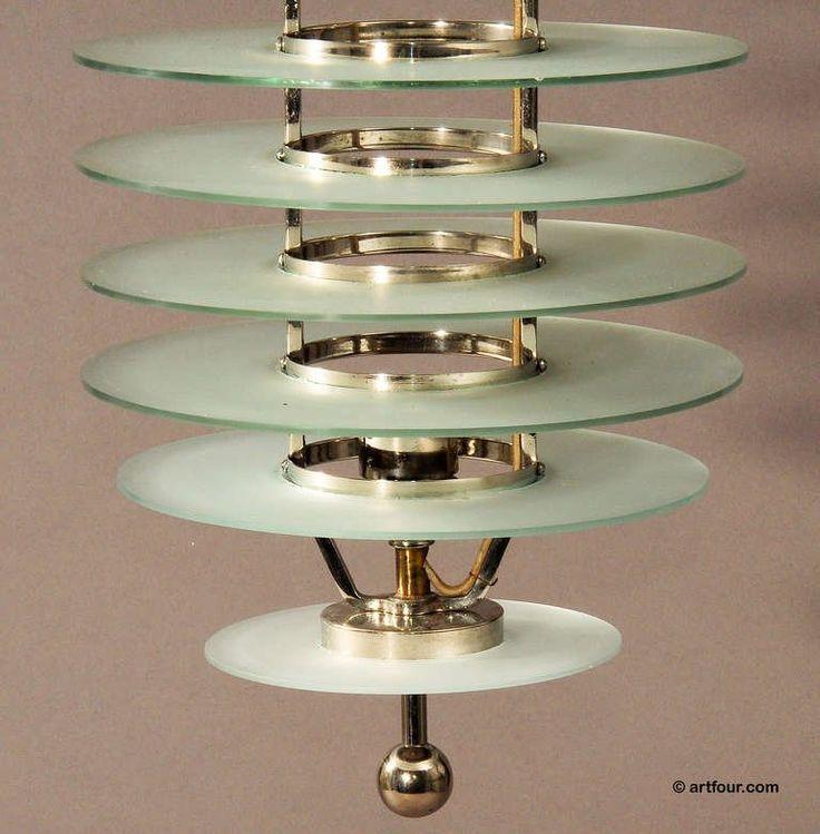 art deco glass ceiling lamp bauhaus style ca. 1920 4