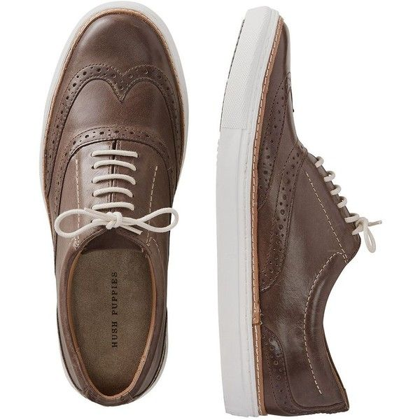 Hush Puppies Travis Nicholas Shoes ($90) ❤ liked on Polyvore featuring men's fashion, men's shoes, brown, fancy mens shoes, mens wingtip shoes, hush puppies mens shoes, mens wing tip shoes and mens slip on shoes