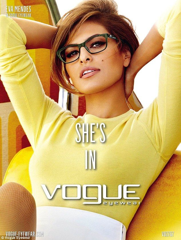 Eva Mendes is seemingly the perfect choice as the face of stylish eye wear company, Vogue. In a new campaign for the Italian brand, the 38-year-old actress channels a sexy secretary as she models several pairs of spectacles and sunglasses.