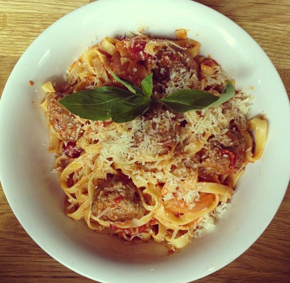 Lungberg's meatball pasta