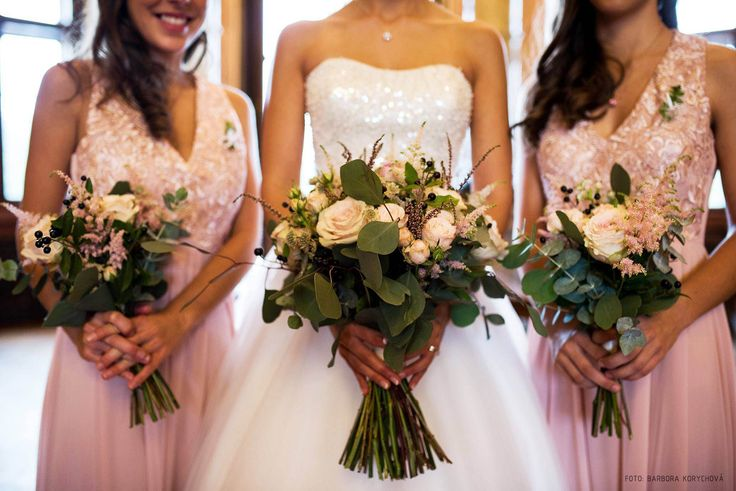 blush wedding bouquet, roses, eucalyptus, berries, astilbe