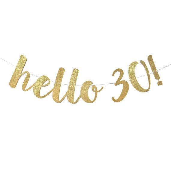 Decoraciones de cumpleaños 30  Hola 30 Banner de cumpleaños