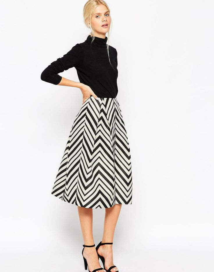 Midi Prom Skirt in Chevron with Zip Detail. Autumn skirt outfit. More skirts to wear this fall >>> http://justbestylish.com/10-stylish-skirts-to-wear-this-fall/