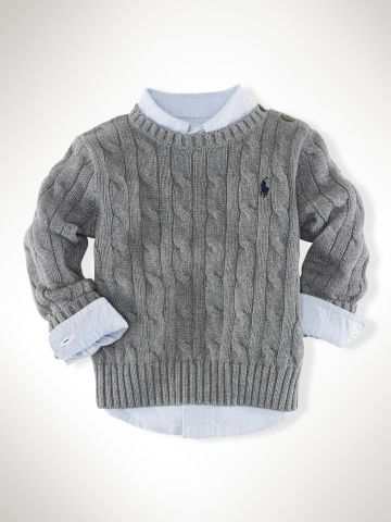 Classic Cable Crewneck - Infant Boys Sweaters - RalphLauren.com