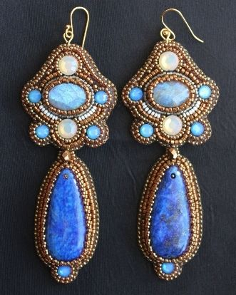 Lapis, Blue & White Opal Crystal Earrings