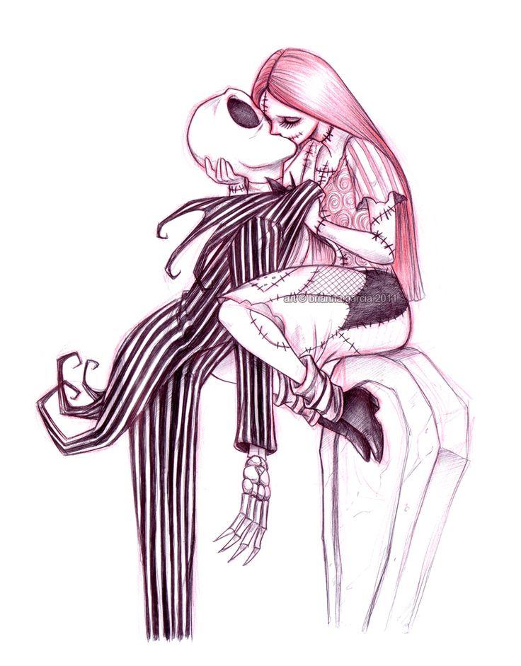 Jack Skellington and Sally Drawings   Geek Art: Jack Skellington and Sally Making Out on a Tomb Stone ...
