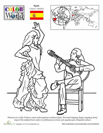 Worksheets: Color the World! Flamenco