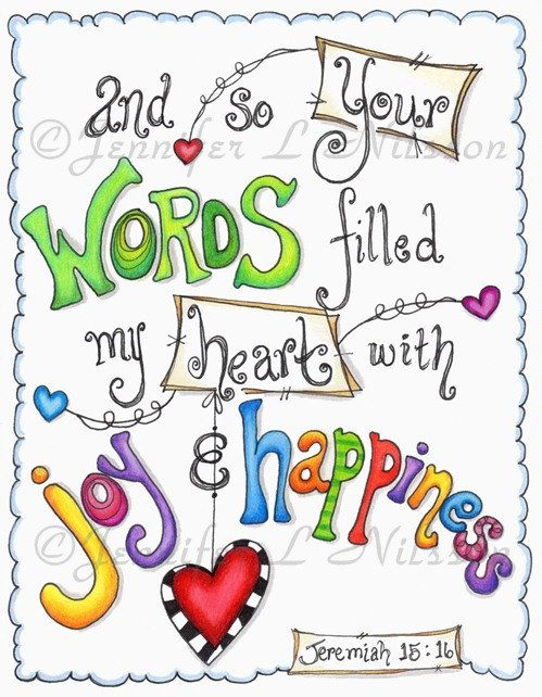 Christian Scripture Art, Original Colored Pencil Drawing, Joy and Happiness