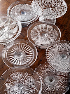 vintage cakestands -- so many pretty designs! Love 'em for serving food (huh?) as well as displaying flowers and plants, pretty perfume bottles etc.