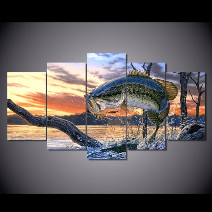 Style Your Home Today With This Amazing 5 Panel Large Mouth Bass Lake Fishing Framed Wall Canvas For $99.00  Discover more canvas selection here http://www.octotreasures.com  If you want to create a customized canvas by printing your own pictures or photos, please contact us.