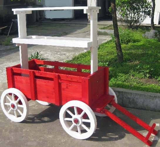 flower+carts+on+wheels | Accent Wagon Display - Red With White Wheels, Wooden Floral Display