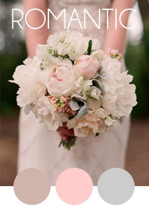 For a soft romantic bouquet the color palet with lavender, pink and a soft gray will create a stunning bouquet to remember