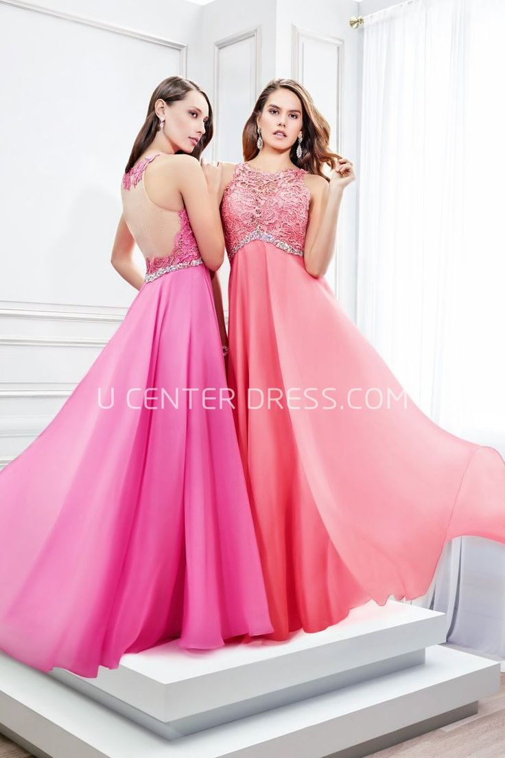$130.89- Elegant Sleeveless Scoop Neck Appliqued Satin Chiffon Evening Gown with Illusion Back. http://www.ucenterdress.com/floor-length-sleeveless-scoop-neck-appliqued-satin-chiffon-prom-dress-pMK_300311.html.  Shop for affordable evening gowns, prom dresses, white dresses, party dresses for women, little black dresses, long dresses, casual dresses, designer dresses, occasion dresses, formal gowns, cocktail dresses . We have great 2016 Evening Gowns on sale now. #evening #gowns