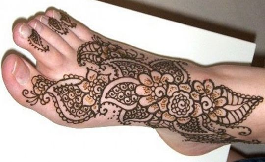 Large Floral Henna Design for Foot | ShePlanet