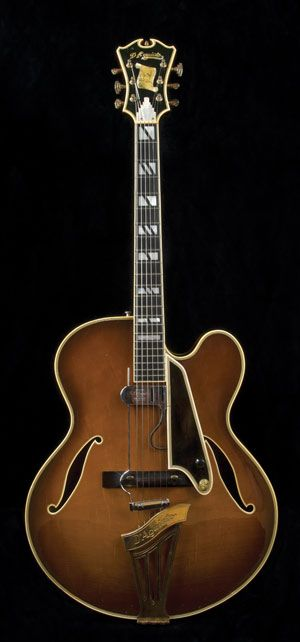 "This guitar was handmade for the very famous Grant Green in 1972. As Rudy Pensa tells the story, Grant Green's son ""told me about when he took a trip to D'Aquisto's house with his father to pick up the instrument. He loved it so much that he spent days without putting the guitar down.""      This particular D'Aquisto is an 18"" New Yorker in an amazing Tobacco Sunburst finish."