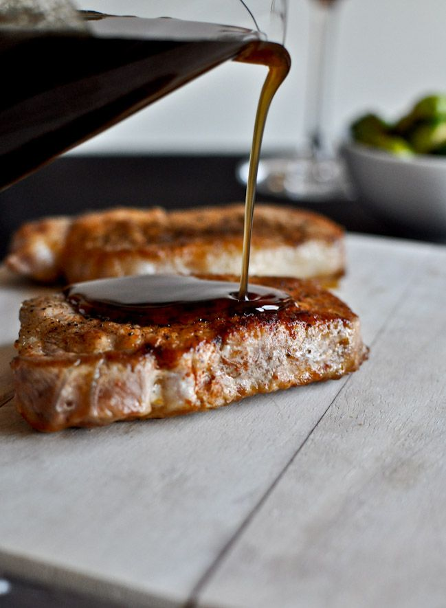 maple bourbon glazed pork chops - this looks like it would be great on salmon too.