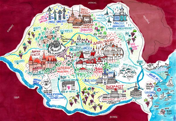 Illustrated map of touristic Romania for a travel agency, by Madalina Andronic.