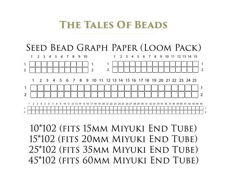 Seed Bead Graph Paper for Miyuki Delica Size 11/0 - Numbered Loom Beading Graph Templates Miyuki End Tubes - Printable PDF - DIY Bracelet by TheTalesOfBeads on Etsy  Make your own seed bead pattern with this Bead Graph Paper Loom Pack! Perfect for Miyuki Delica size 11/0 seed beads or any other beads as long as you're using loom technique or square stitch. #beadgraphpaper # beadinggraph
