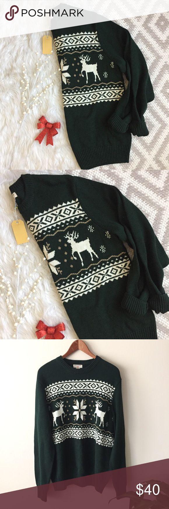 Dockers • Green Reindeer Sweater Docker's Hunter Green Reindeer Sweater   Oversized fit. Heavy/thick knit. 100% cotton. No flaws! Holiday season. Size L. Length: 26 in Bust: 22 in flat Dockers Sweaters