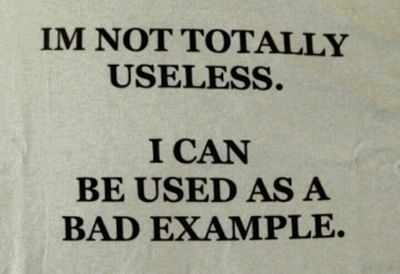 IM NOT TOTALLY USELESS. I CAN BE USED AS A BAD EXAMPLE.