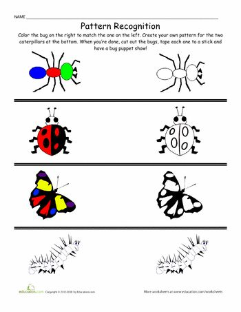 Worksheets: Patterns and Colors: Bugs!
