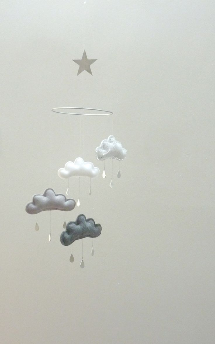 Shades of grey Nursery cloud mobile with star  by leptitpapillon, $72.00